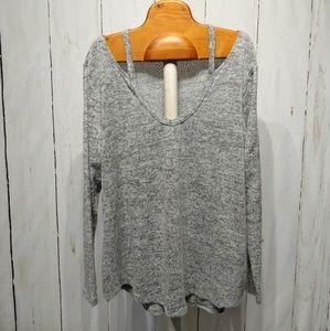 NWOT 1X Bare Shoulder Gray Sweater